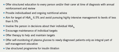 Table 2. Key messages from the NICE guidance on type 2 diabetes management