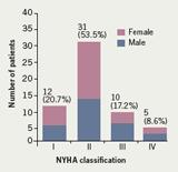Figure 1. Severity of heart failure by New York Heart Association (NYHA) classification (n=58)