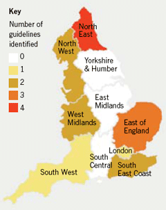 Figure 1. Geographic distribution of English primary care trust and cardiac network post-myocardial infarction clinical guidelines identified, by strategic health authority (SHA) region