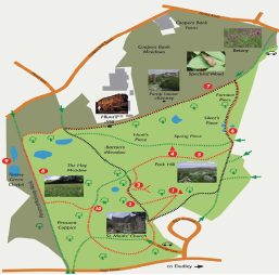 Figure 1. The two-mile Action Heart 'Walking for Life' route, which is around the Barrow Hill Nature Reserve in Dudley adjacent to Russells Hall Hospital
