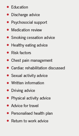 Table 1. Cardiac prevention and rehabilitation advice