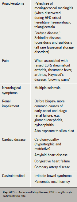 Table 4. Differential diagnoses of anderson-Fabry disease (27)