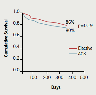 Figure 1. Overall one-year survival rates between acute coronary syndrome (ACS)group and elective group