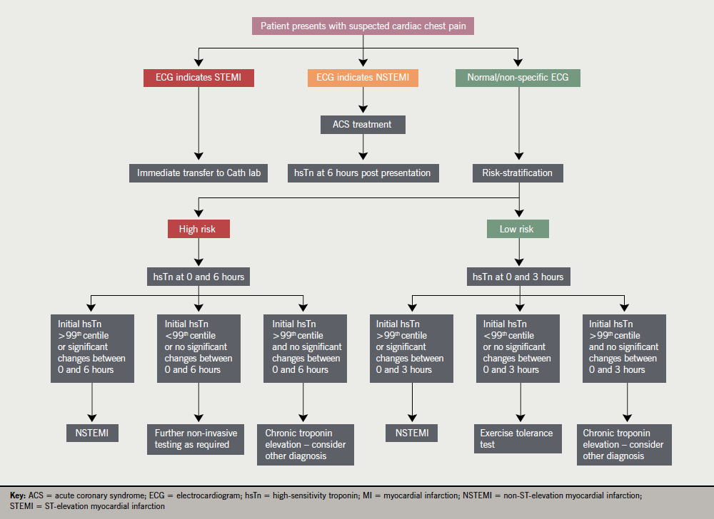 Figure 1. Clinical use of high-sensitivity troponin (hsTn) testing – a suggested framework. Note that excluding myocardial infarction (MI) does not exclude unstable angina or ischaemic heart disease. After Collinson(12)