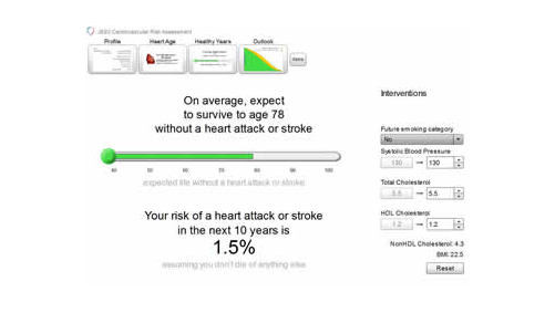 Figure 1. Detail from the new JBS3 risk calculator showing a patient's future lifetime cardiovascular risk. Panel A shows the lifetime risk of cardiovascular disease of a 35-year-old woman with adverse risk factors. Panel B shows how interventions to modify her risk factors can improve her life expectancy.