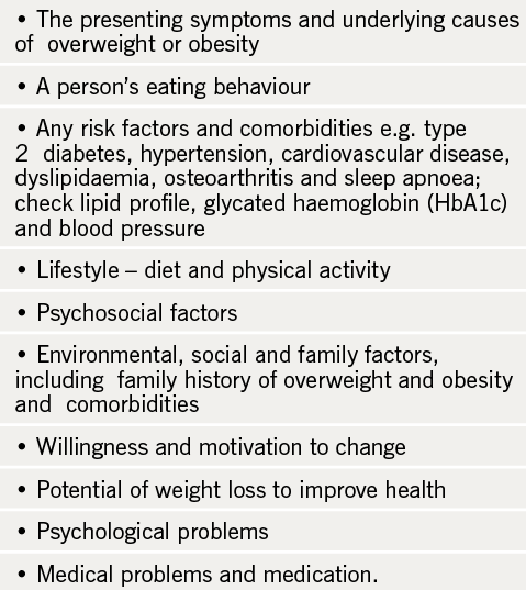 Table 3. Considerations in the assessment of lifestyle, comorbidities and willingness to change
