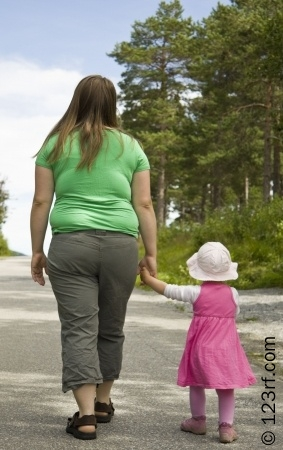 6965372-obese-mother-and-child-walking-on-a-forest-path-on-a-beutiful-summer-day