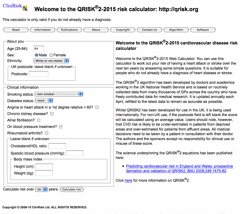 Figure 5. QRISK calculator