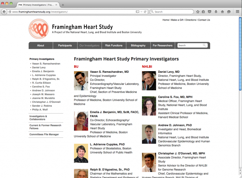 Figure 1. The Framingham Heart Study Primary Investigators (click for more)