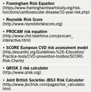 Table 2. Cardiovascular 'risk engine' calculators