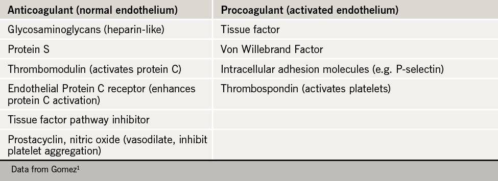 Table 1. Involvement of the endothelium in haemostasis1