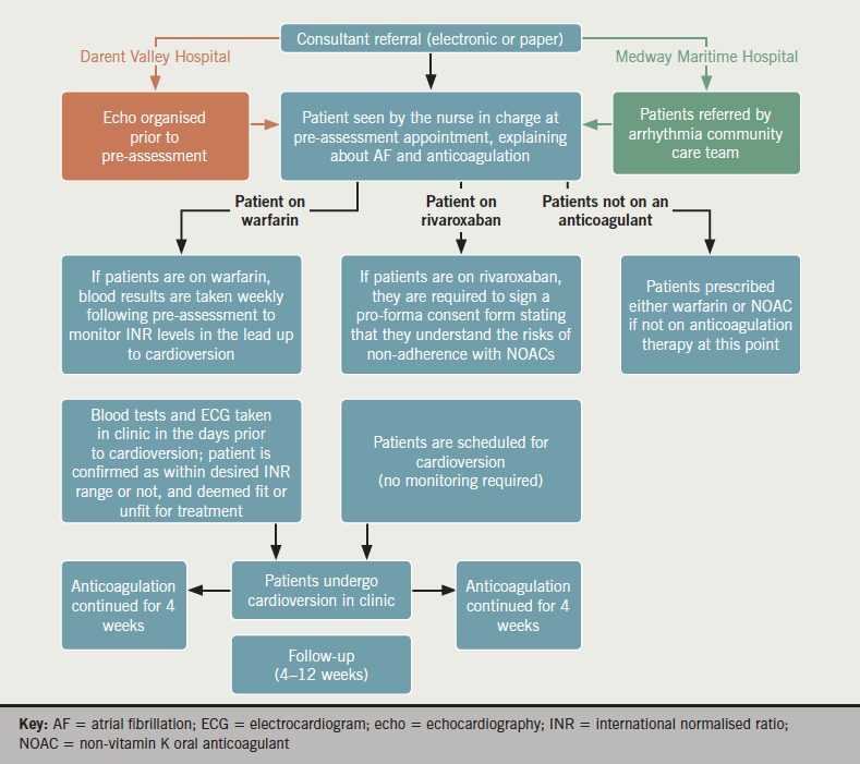 Figure 4. Potential pathway for the use of non-vitamin K oral anticoagulants in cardioversion. A starting point