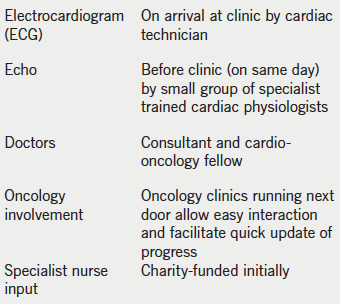 Table 3. Cardio-oncology clinic set-up at Barts Heart Centre