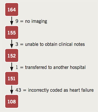 Figure 1. Numbers of patient episodes excluded and reasons. From the original 164 patient episodes, a total of 56 patients were excluded giving a total of 108 patients whose discharge summary scores were calculated