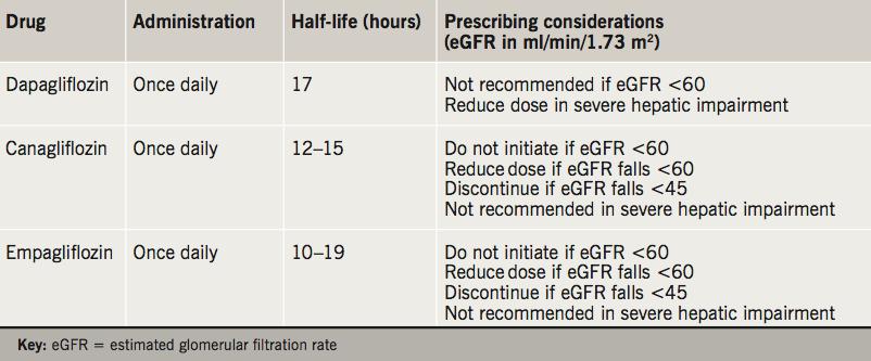Table 1. Sodium-glucose co-transporter 2 (SGLT2) inhibitors – prescribing considerations3