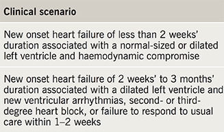 Table 4. American Heart Association/ American College of Cardiology/ European Society of Cardiology (AHA/ ACC/ESC) clinical scenarios with a class IB recommendation for use of EMB, 2007