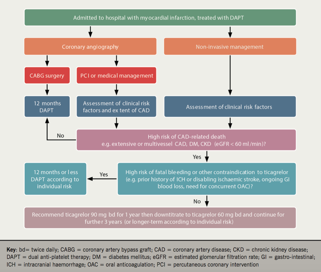 2017 Supplement 1.2 - Figure 1. Decision-making algorithm for recommended duration of dual antiplatelet therapy prior to hospital discharge following myocardial infarction