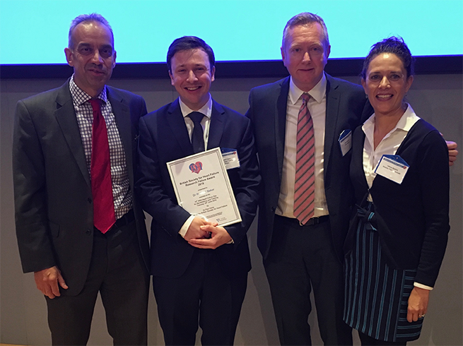 The BSH Research Fellow Award winner Richard Baker (second from left) with from left: Paul Kalra (BSH Chair), Nick Ibrahim (Vifor Pharma) and Helena Masters (Novartis Pharmaceuticals)
