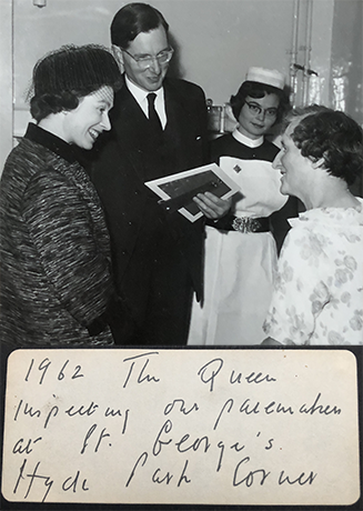Photo showing her Majesty the Queen visiting St. George's Hospital, Hyde Park Corner, London (1962), with Dr Aubrey Leatham, nursing sister and pacemaker patient. Photo courtesy of Dr Edward Leatham