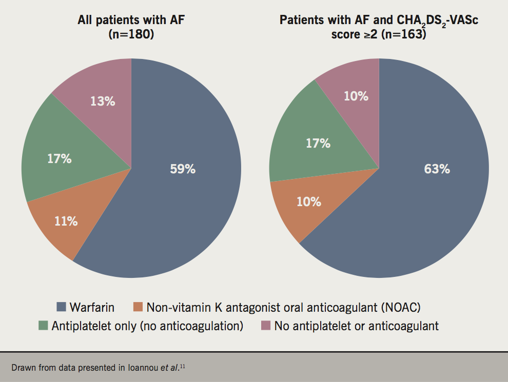 BJC 2019 Supplement 2 - Rowell - Figure 1. Stroke prophylaxis in a UK population of patients with paroxysmal or chronic atrial fibrillation (AF)