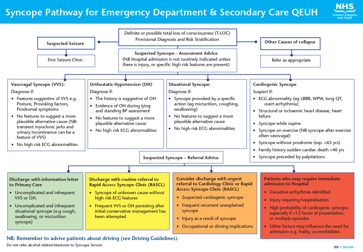 McLintock - Figure 1. The Queen Elizabeth University Hospital risk-stratification pathway for syncope
