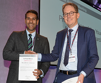 BSH Figure 2 - The 2019 BSH Young Investigator Award went to Dr Gaurav Gulsin (left), pictured here receiving his certificate from BSH Chair Dr Simon Williams