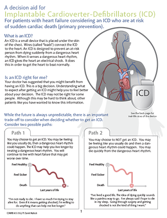 A decision aid for implantable cardioverter-defibrillators (ICD) for patients with heart failure considering an ICD who are at risk for sudden cardiac death (primary prevention)