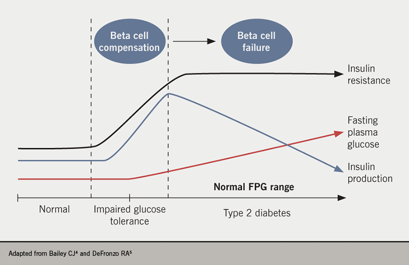 Diabetes module 1 - Figure 2. The natural history of type 2 diabetes