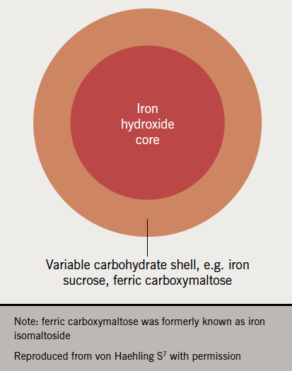 Iron supplement 2021 - Figure 2. The composition of intravenous iron with 2 components – the iron core and carbohydrate shell