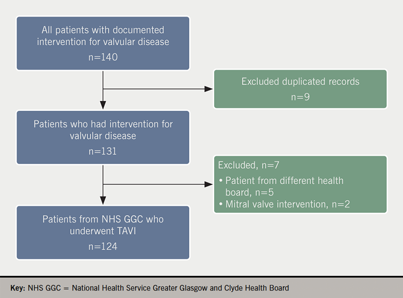 Osmanska - Figure 1. Patients who underwent transcatheter aortic valve implantation (TAVI) and reasons for exclusion from final analysis